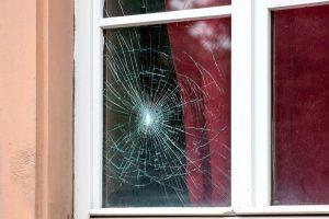 Broken Dual Pane Window Glass