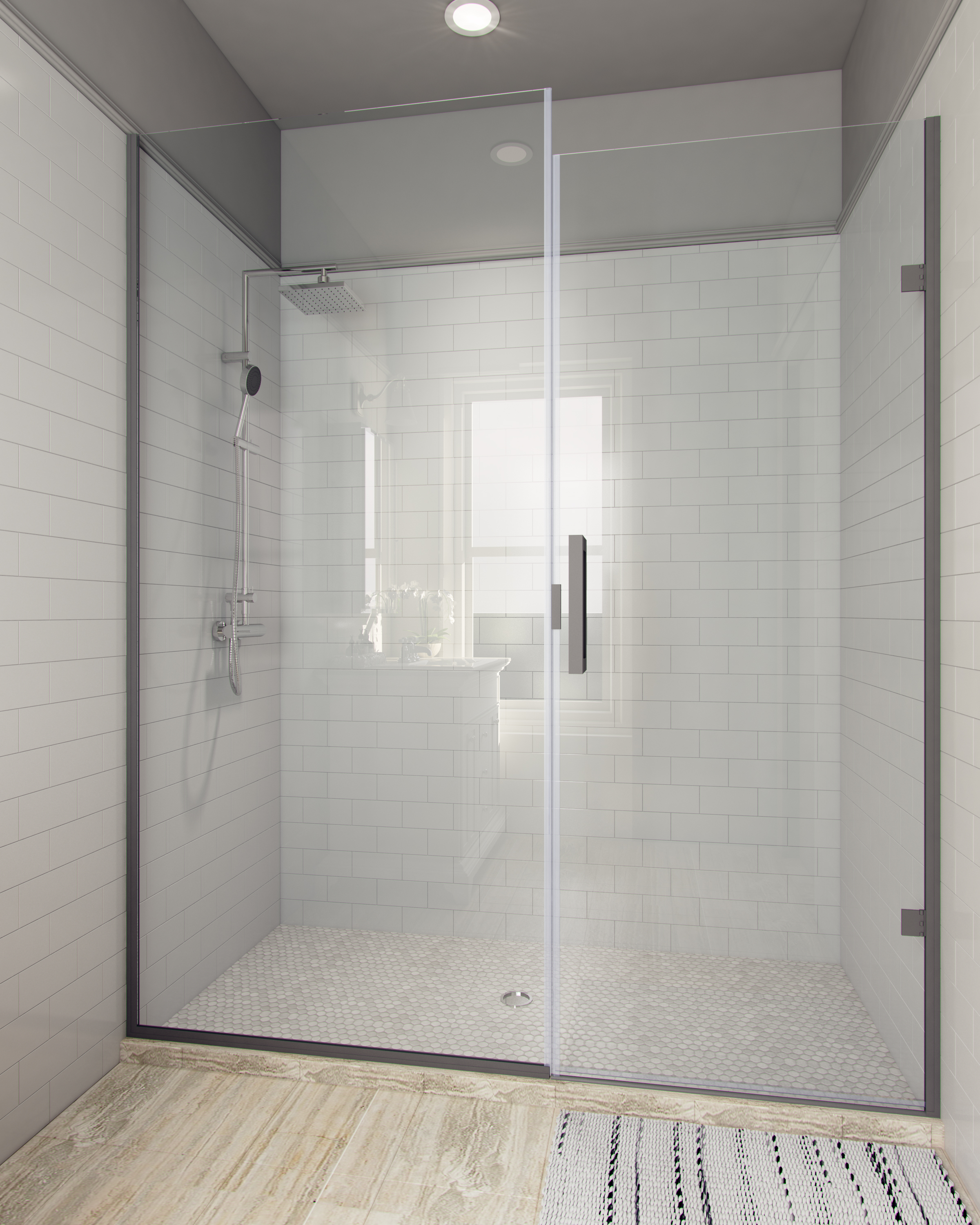 Sonoran Semi Frameless Glass Shower Enclosure 0.25 door - 0.375 panel