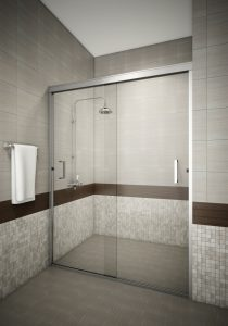 Tombstone Semi Frameless Contemporary Glass Shower Enclosure 0.25