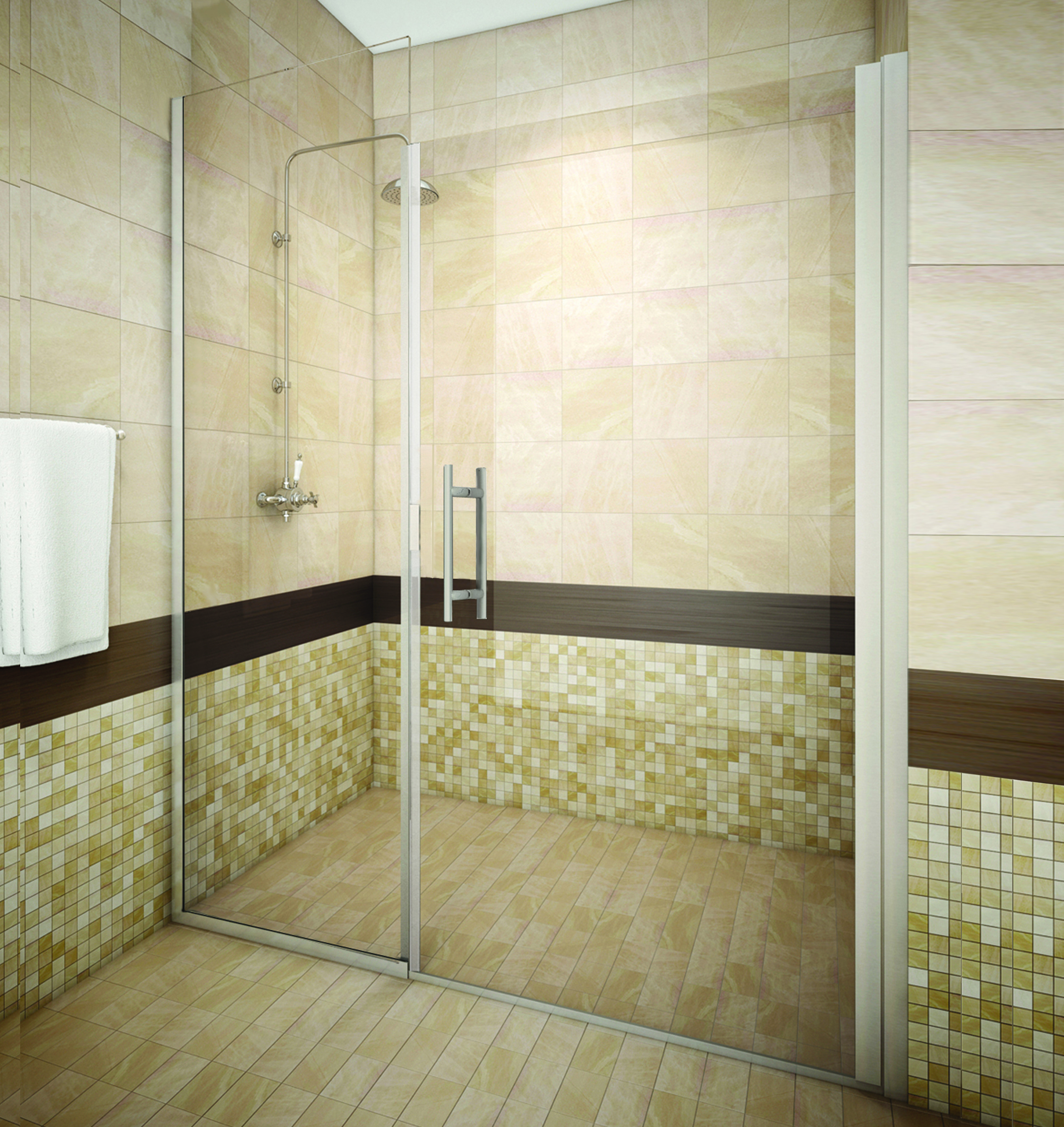 Tucson Semi Frameless Glass Shower Enclosure 0.25 door - 0.375 panel